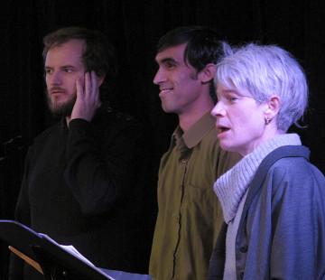 Isaiah Ceccarelli; Gabriel Dharmoo; Lori Freedman singing in the choir Chorale Joker [Photo: Céline Côté, Montréal (Québec), March 1, 2013]