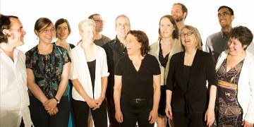 The choir Chorale Joker conducted by Joane Hétu; left to right: Alexandre St-Onge; Marie-Neige Besner; Manon De Pauw; Lori Freedman; Éric Forget; Jean Derome; Joane Hétu; Elizabeth Lima; Isaiah Ceccarelli; Diane Labrosse; Gabriel Dharmoo; Géraldine Eguiluz [Photo: Robin Pineda Gould, Montréal (Québec), June 19, 2014]