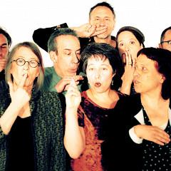 The choir Chorale Joker conducted by Joane Hétu; left to right: Gabriel Dharmoo; Manon De Pauw; Alexandre St-Onge; Diane Labrosse; Jean Derome; Michel F Côté; Géraldine Eguiluz; Elizabeth Lima; Joane Hétu; Éric Forget; Isaiah Ceccarelli; Lori Freedman; Marie-Neige Besner [Photograph: Robin Pineda Gould, Montréal (Québec), June 19, 2014]