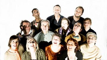 The choir Chorale Joker conducted by Joane Hétu; left to right: 1st row, Manon De Pauw; Diane Labrosse; Géraldine Eguiluz; Joane Hétu; Lori Freedman; 2nd row, Alexandre St-Onge; Jean Derome; Elizabeth Lima; Éric Forget; Marie-Neige Besner; 3rd row, Gabriel Dharmoo; Michel F Côté; Isaiah Ceccarelli [Photo: Robin Pineda Gould, Montréal (Québec), June 19, 2014]