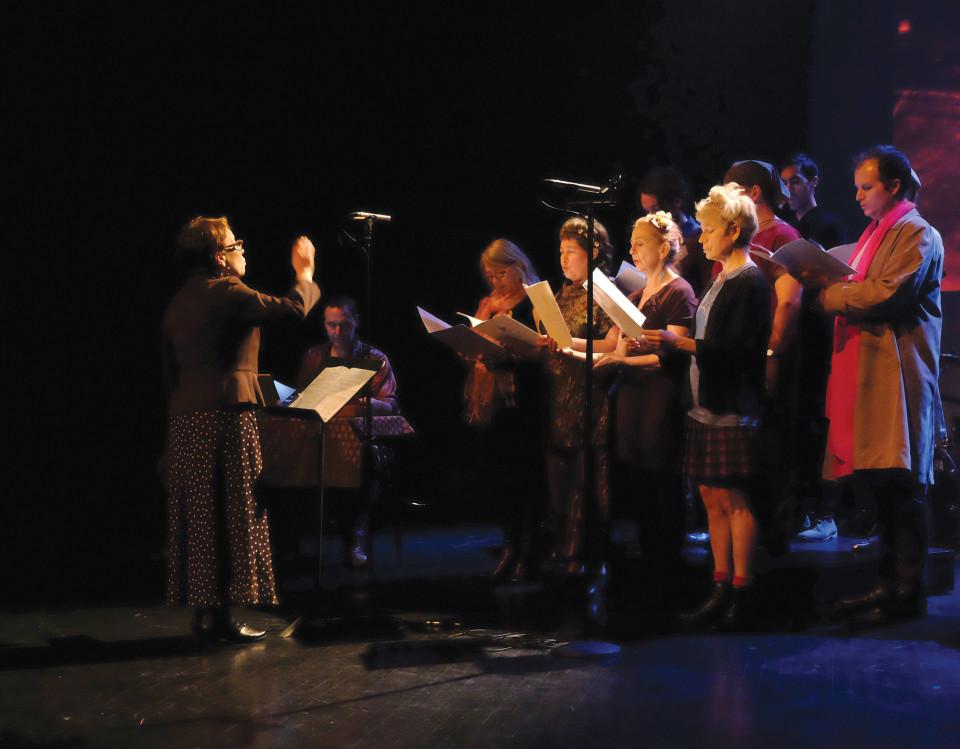 Chorale Joker en concert à l'événement DAME: Archive / mémoire [Photo: Céline Côté, Montréal (Québec), 16 février 2017]