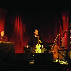 Martin Tétreault, Pierre-Yves Martel, Philippe Lauzier in concert at La Sala Rossa during the Ça frappe event, by Productions SuperMusique [Photograph: Céline Côté, Montréal (Québec), March 25, 2009]