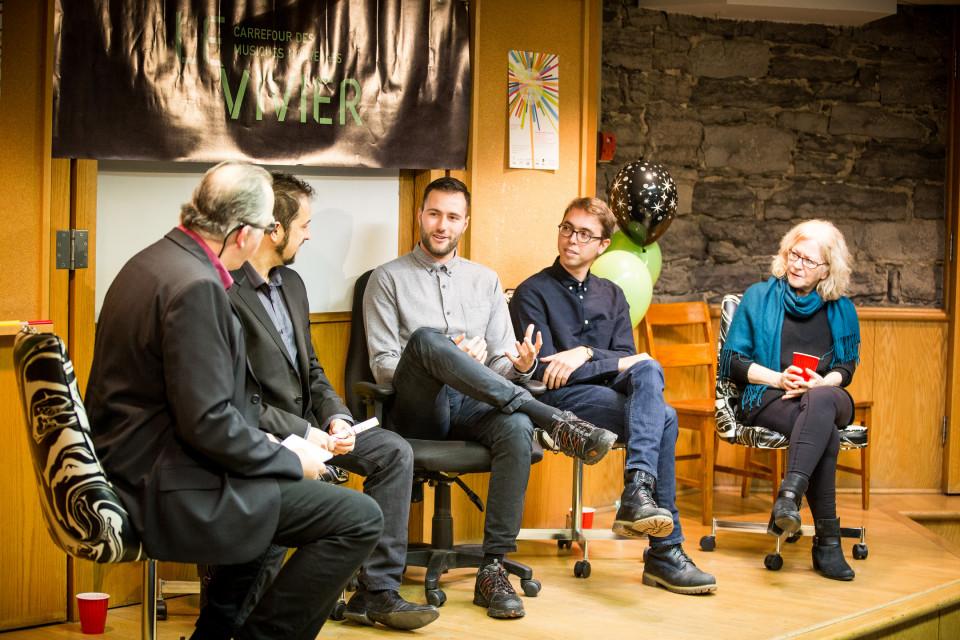 Réjean Beaucage, Fabrice Marandola, Nicolas Gouin, Victor Saliba, Pauline Vaillancourt [Photo: Vincent Marchessault, Montréal (Québec), 22 janvier 2017]