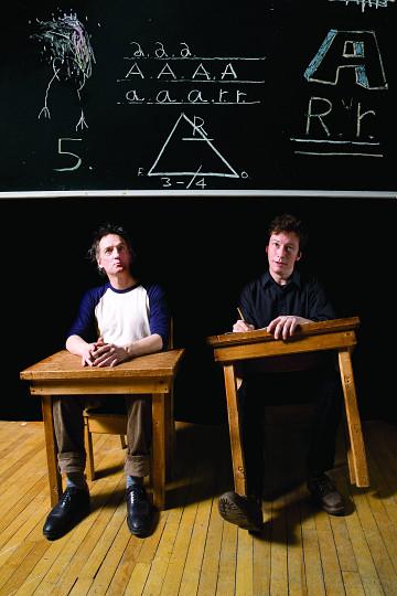 Frank Martel et Bernard Falaise à «L'école du Ara» [Photo: Julie Gauthier, novembre 2009]