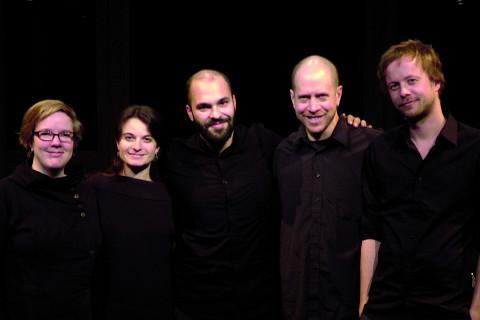 Amy Horvey, Terri Hron, Pierre-Yves Martel, Ben Grossman, Kim Myhr [Photo: Élisabeth Alice Coutu, Montréal (Québec), December 3, 2011]