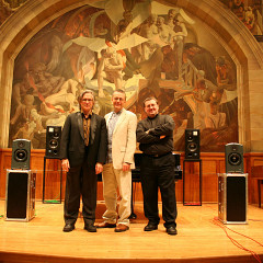 Robert Normandeau, Andrew Lewis, and Jonty Harrison on the stage of Powis Hall, Bangor University [Bangor (Wales, UK), October 30, 2008]