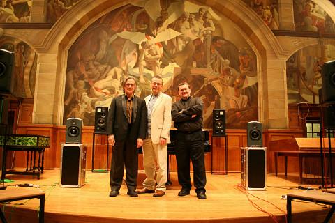 Robert Normandeau, Andrew Lewis, and Jonty Harrison on the stage of Powis Hall, Bangor University [Bangor (Wales, UK), October 30, 2008]