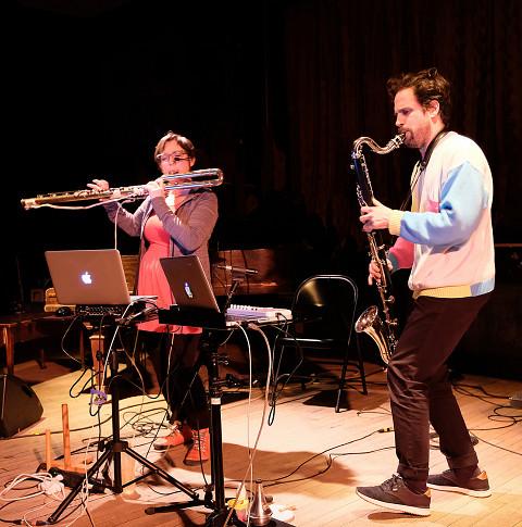 Cléo Palacio-Quintin, Philippe Lauzier / Concert, La Sala Rossa, Montréal (Québec) [Photograph: Céline Côté, Montréal (Québec), April 11, 2018]