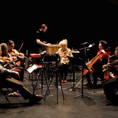 In rehearsal, from left to right: Clemens Merkel, Jean Derome, Stéphanie Bozzini, Isaiah Ceccarelli, Danielle Palardy Roger, Isabelle Bozzini, Joane Hétu, Alissa Cheung [Photograph: Céline Côté, Montréal (Québec), April 23, 2015]