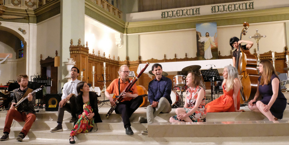 The vocal ensemble Phth and Korvat Auki Ensemble perform the piece Lemmenhuuto of alien angels et oiseaux nordiques… [Photograph: Céline Côté, Montréal (Québec), June 12, 2019]