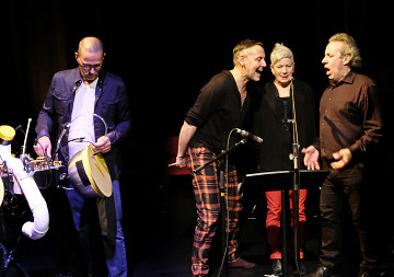 Jean-François Laporte, Michel F Côté, Lori Freedman, Jean Derome [Photo: Céline Côté, Montréal (Québec), October 24, 2019]