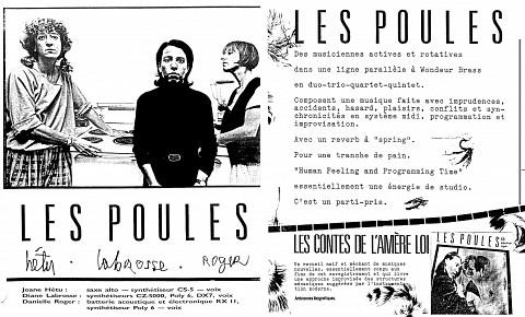 Montage des pages 1 et 2 du document promotionnel de 4 pages en français «Les contes de l'amère loi» [1986]