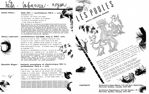 Montage des pages 3 et 4 du document promotionnel de 4 pages en français «Les contes de l'amère loi» [1986]