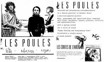 Montage des pages 1 et 2 du document promotionnel de 4 pages en anglais «Les contes de l'amère loi» [1986]