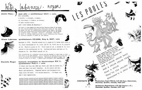 Montage des pages 3 et 4 du document promotionnel de 4 pages en anglais «Les contes de l'amère loi» [1986]