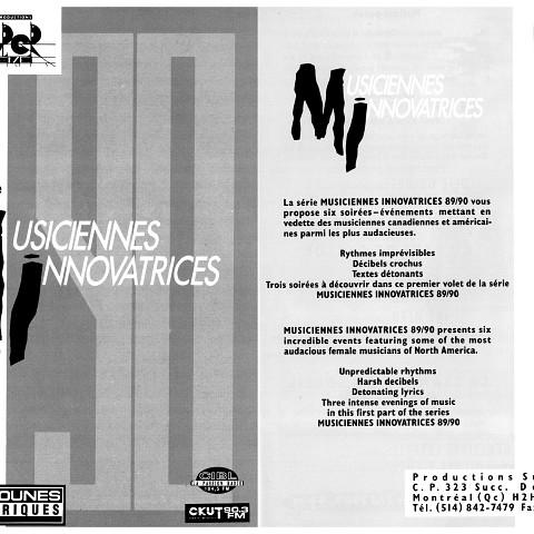 Montage de la face extérieure du dépliant de 6 pages. «Musiciennes innovatrices»