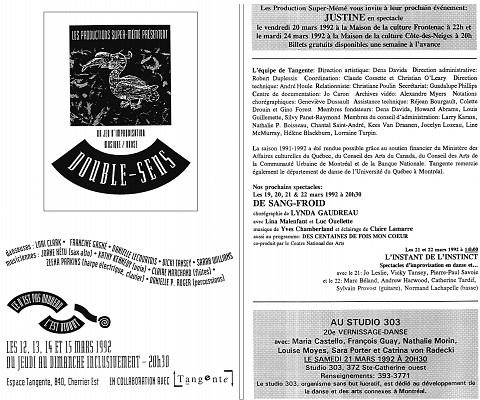 Montage des pages 1 et 8 du programme. «Double-Sens» deuxième événement dans le cadre de la saison 91-92 «Ce n'est pas nouveau, c'est vivant»