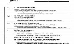 Extrait du calendrier «Musique en tête» du Conseil québécois de la musique (CQM)