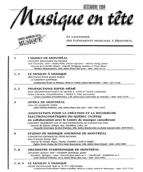 Extrait du calendrier «Musique en tête» du Conseil québécois de la musique (CQM) [December 3, 1994]