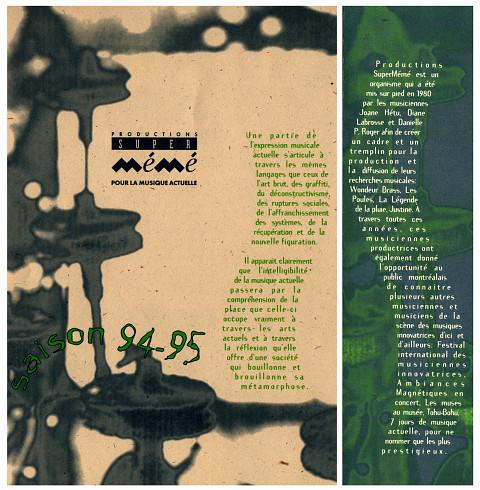 Montages des pages 1 et 4 du programme, de la saison PSM 1994-1995 [6 octobre 1994]