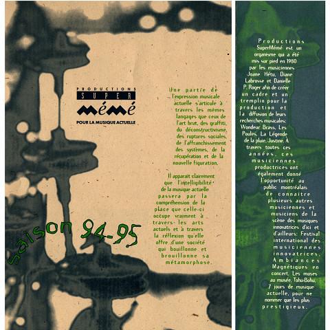 Montages des pages 1 et 4 du programme, de la saison PSM 1994-1995