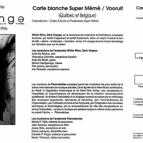Montage des pages 1, 2 et 3 du programme. Co-produuit avec Productions SuperMémé et Codes d'Accès