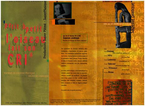 Extraits du dépliant de l'événement «Sagesse pratique» [February 26, 1999]