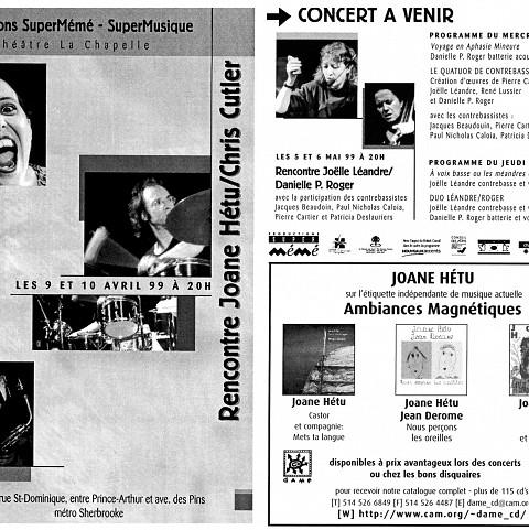 Montage des pages 1 et 8 du programme de l'événement «Rencontre Joane Hétu/Chris Cutler»