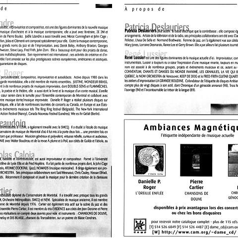 Montage des pages 6 et 7 du programme de l'événement «Rencontre Joëlle Léandre/Danielle Palardy Roger» [5 mai 1999]