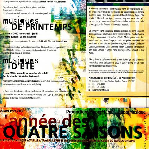 Page 1 du programme de Productions SuperMémé de la saison 1999-2000, l'année des Quatre Saisons