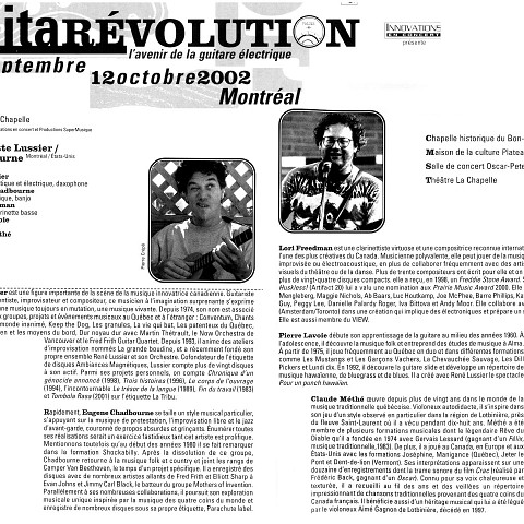 Extraits du programme officiel de l'événement «Guitarévolution» une production de Innovations en concert