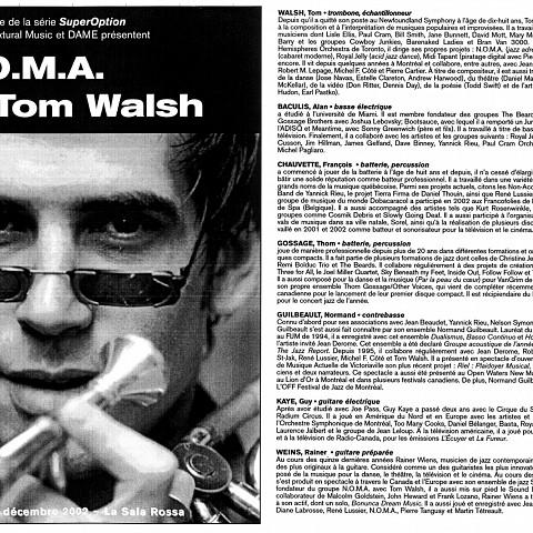 Montage des pages 1 et 2 du programme de l'événement NOMA et Tom Walsh