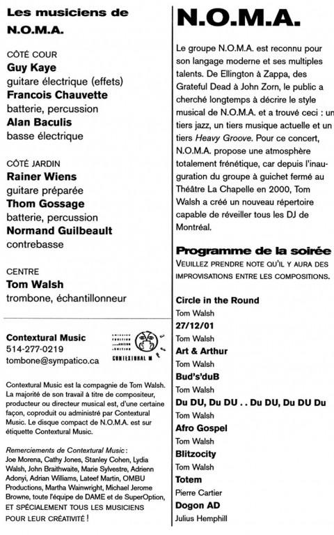 Page 3 du programme de l'événement NOMA et Tom Walsh