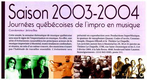 Extrait du dépliant de la Société québécoise de recherche en musique (SQRM)