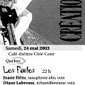 Extraits du programme [May 24, 2003]
