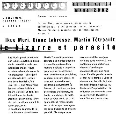 Extraits du programme [21 mars 2002]