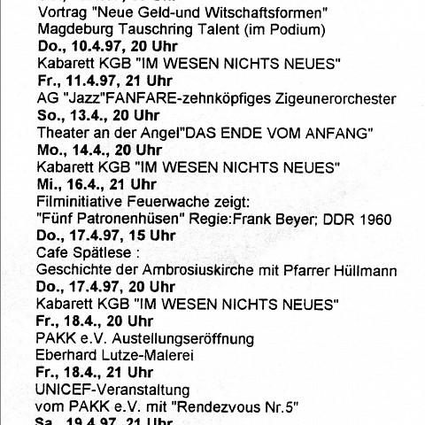 Calendrier des événements [April 10, 1997]