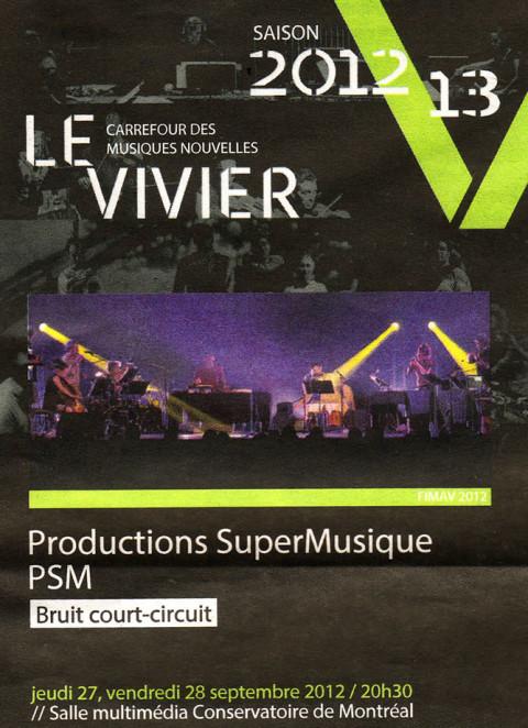 Publicité dans Voir du concert Bruit court-circuit, faisant partie de la Saison Le Vivier [septembre 2012]