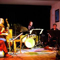 Joshua Zubot, Pierre-Yves Martel, Isaiah Ceccarelli, Bernard Falaise,  [Photograph: Élisabeth Alice Coutu, Montréal (Québec), February 25, 2013]