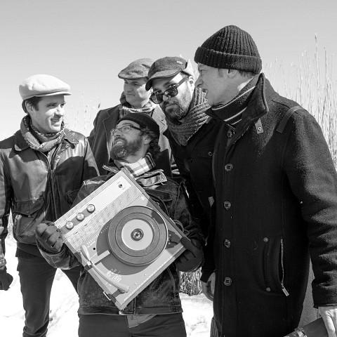 Quartetski (Philippe Lauzier, Joshua Zubot, Isaiah Ceccarelli, Pierre-Yves Martel, Bernard Falaise) [Photograph: Chrissy Cheung, Montréal (Québec), April 3, 2013]
