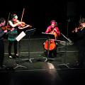Bozzini Quartet performing the first movement of Le mensonge et l'identité by Jean Derome andJoane Hétu [Photograph: Bruno Massenet, Montréal (Québec), February 21, 2010]
