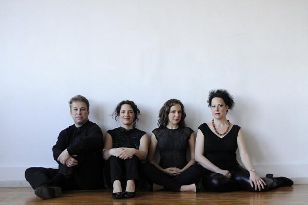 Bozzini Quartet, Clemens Merkel, Stéphanie Bozzini, Mira Benjamin, Isabelle Bozzini [Photograph: Michael Slobodian, Montréal (Québec), 2011]