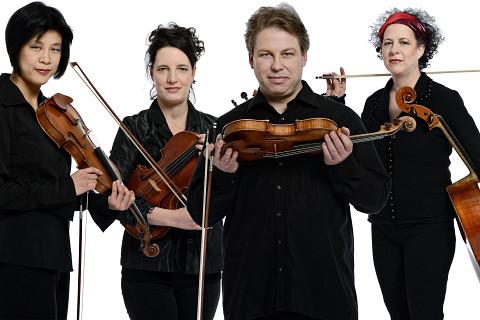 Quatuor Bozzini, Alissa Cheung, Stéphanie Bozzini, Clemens Merkel, Isabelle Bozzini [Photo: Michael Slobodian]