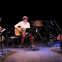 Bozzini Quartet and Kim Myhr; Clemens Merkel, Stéphanie Bozzini, Kim Myhr, Isabelle Bozzini, Alissa Cheung [Photograph: Céline Côté, Montréal (Québec), April 23, 2015]