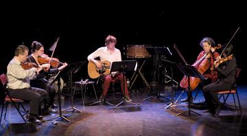 Bozzini Quartet and Kim Myhr; Clemens Merkel, Stéphanie Bozzini, Kim Myhr, Isabelle Bozzini, Alissa Cheung [Photo: Céline Côté, Montréal (Québec), April 23, 2015]