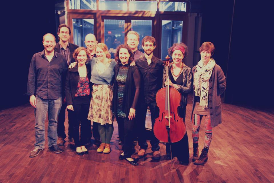 Composer's Kitchen 2013 with Seán Clancy, Michael Oesterle, Laurence Crane, Amber Priestley, Simon Martin and Marielle Groven [Photograph: Lianne Finnie, Montréal (Québec), April 2013]