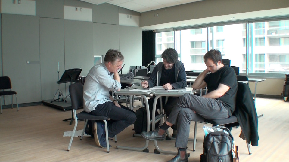 Composer's Kitchen 2012 avec Christopher Fox, John Lely et Isaiah Ceccarelli [Photo: Caroline de la Motte, avril 2012]