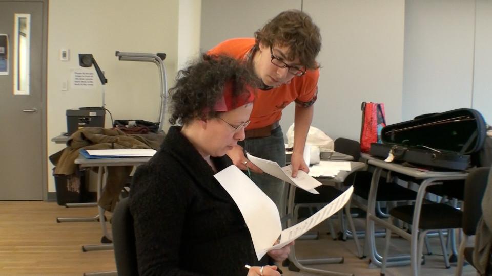 Composer's Kitchen 2012 avec Isabelle Bozzini et Thierry Tidrow [Photo: Caroline de la Motte, avril 2012]