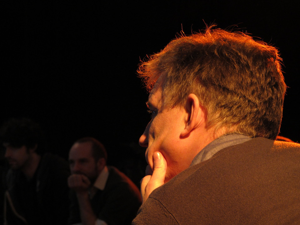 Composer's Kitchen 2012 with Christopher Fox and Scott McLaughlin [Photograph: Caroline de la Motte, April 2012]