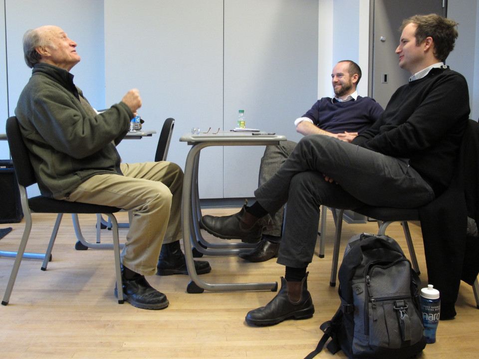 Composer's Kitchen 2012 with Malcolm Goldstein, Scott McLaughlin and Isaiah Ceccarelli [Photograph: Caroline de la Motte, April 2012]